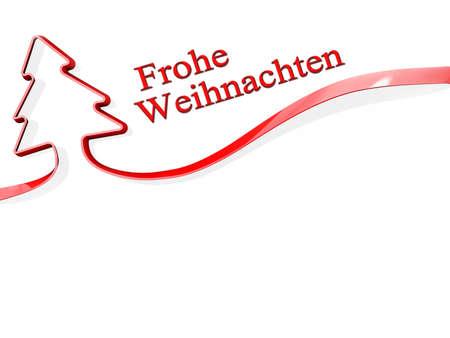 Frohe アドベントとクリスマス ツリーのような形をした赤いリボン 写真素材