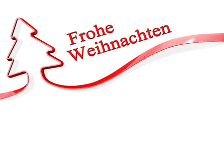 Red ribbon shaped like a Christmas Tree with Frohe Weihnachten