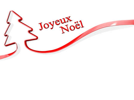 Red ribbon shaped like a Christmas Tree with Joyeux Noel