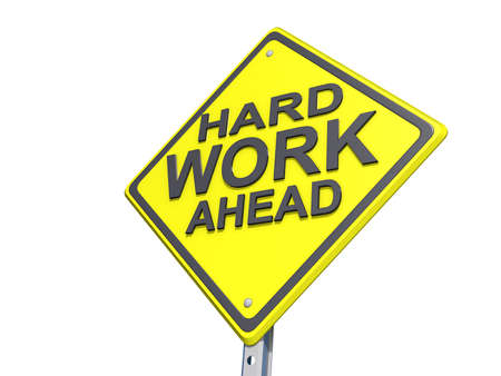 hard work ahead: A yield road sign with  Stock Photo