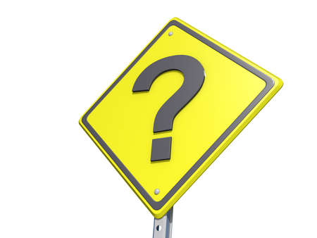 A yield road sign with a question mark  on a white background.