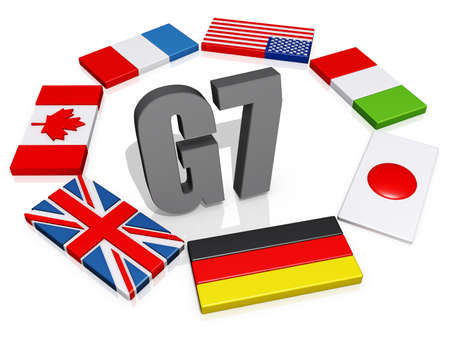 The text G8 encircled by the member flags. Banco de Imagens