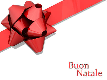 buon: Red Bow and Ribbon with Merry Christmas
