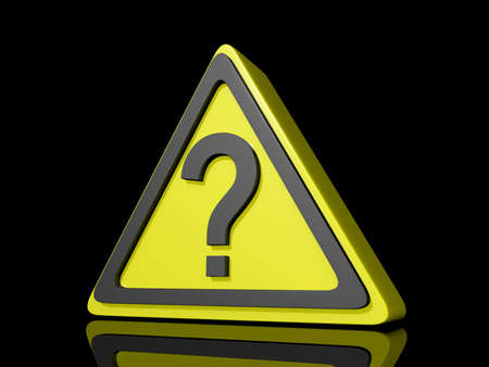 Question Mark Caution Icon on a shiny Black Background.