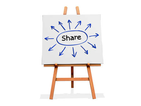 Art Easel on a white background with the word share and arrows going out from it. Фото со стока