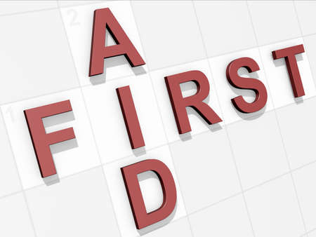 The words First Aid on a feint crossword background