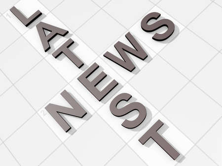 The words Latest news on a feint crossword background Stock Photo