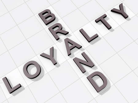 The words Brand Loyalty on a feint crossword background