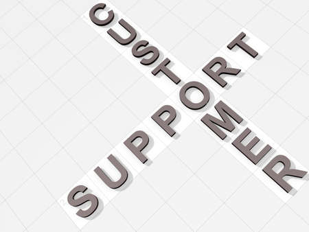 uphold: The words Customer Support on a feint crossword background Stock Photo
