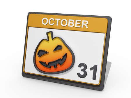 calendario octubre: Un calendario con mostrar 31 de octubre y una linterna del gato o en un BG blanca