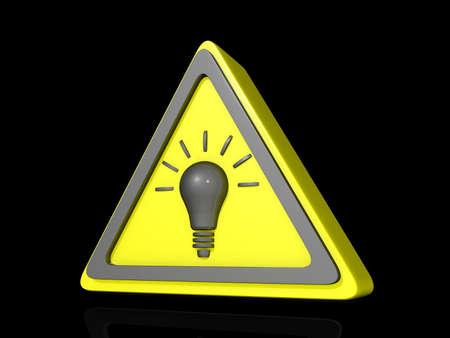 Caution Idea Icon on a shiny black Background.