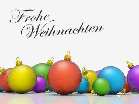 frohe: A row of Christmas Ornaments with the text Merry Christmas in German