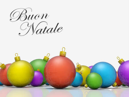 natale: A row of Christmas Ornaments with the text Merry Christmas in Italian