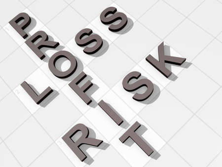 The words Profit Loss Risk on a feint crossword background