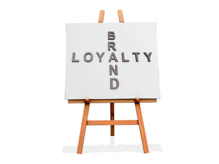 Art Easel on a white background with Brand Loyalty Stock Photo - 18307502