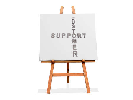 uphold: Art Easel on a white background with Customer Support Stock Photo