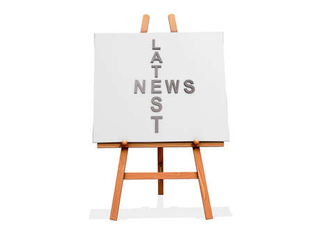 Art Easel on a white background with Latest news Stock Photo - 18307500