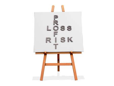 perdidas y ganancias: Art Easel sobre un fondo blanco con el riesgo Profit Loss
