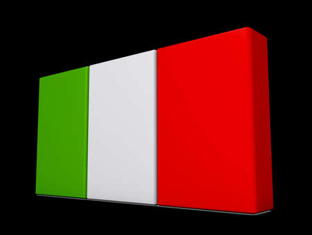 Italy Flag on a shiny black background. Stock Photo - 18356831