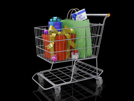 A Grocery shopping cart with Christmas gift boxes on a black background. Stock Photo - 18357853