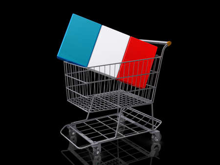 A Grocery shopping cart with a France Flag on a black background. Stock Photo - 18357836