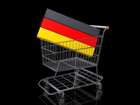 A Grocery shopping cart with a Germany Flag on a black background. Stock Photo - 18357834