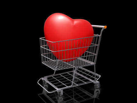 A Grocery shopping cart with a Heart on a black background. Stock Photo - 18357839