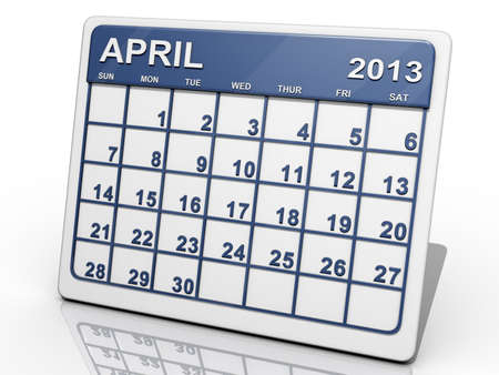 A calendar of April 2013 on a shiny background. Stock Photo - 18398790