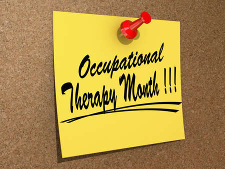 occupational therapy: A note pinned to a cork board with the text