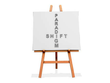 Art Easel on a white background with Paradigm Shift Фото со стока