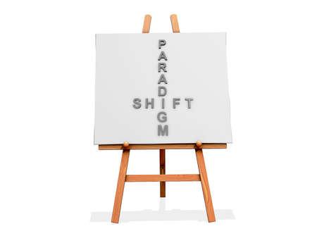 paradigma: Art Easel sobre un fondo blanco con el cambio de paradigma