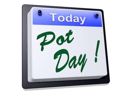"""Op een dag Kalender met """"Pot Day"""" op een witte achtergrond Stockfoto"""