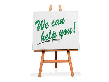 help: Art Easel on a white background with We Can Help You Stock Photo