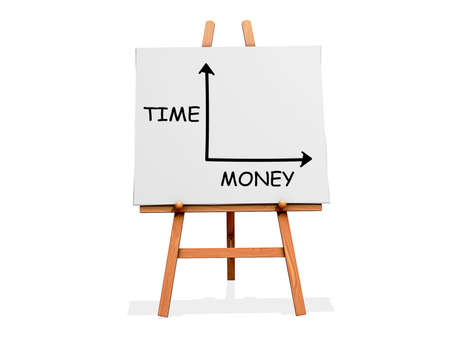 Art Easel on a white background with Time Money Chart Stock Photo - 18518875