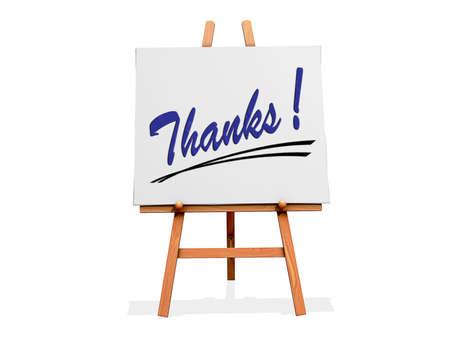 agradecimiento: Art Easel sobre un fondo blanco con Gracias Foto de archivo