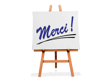 Art Easel on a white background with Thanks in French