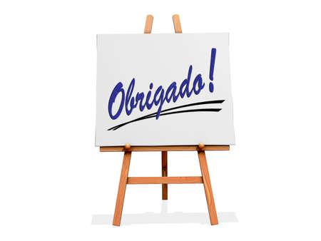agradecimiento: Art Easel sobre un fondo blanco con Gracias en portugu�s
