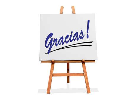スペイン語でのおかげで、白い背景にアート イーゼル