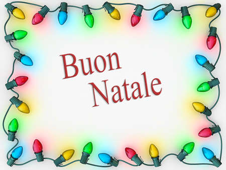 buon: Christmas lights as a boarder to frame Merry Christmas in Italian.