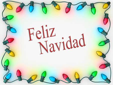 スペイン語でメリー クリスマスのフレームにボーダーとしてクリスマスの照明。 写真素材