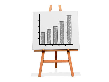 Art Easel on a white background with a bar graph with positive results Stock Photo