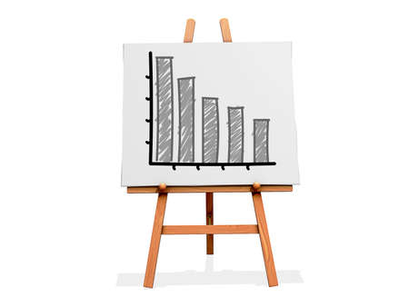 Art Easel on a white background with a bar graph with negative results Stock Photo