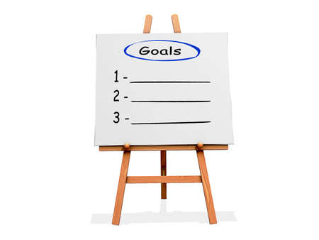 Art Easel on a white background with a copy space list for goals