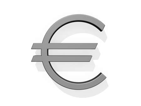 Drop Cap Euro Currency Sign on a white background