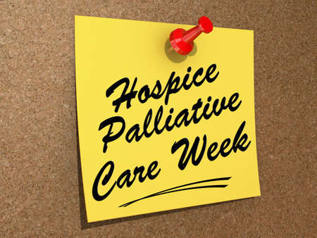 palliative: A note pinned to a cork board with the text