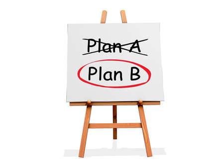 Art Easel on a white background with the word Plan A crossed out and Plan B circled