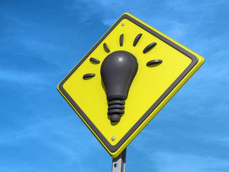 ceda: Una se�al de tr�fico rendimiento con el icono de bombilla Idea luz Foto de archivo