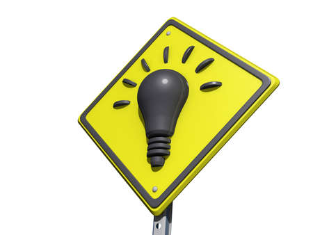 yield sign: A yield road sign with Idea light bulb icon on a white background