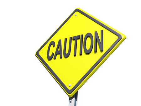 A yield road sign with Caution on a White Background