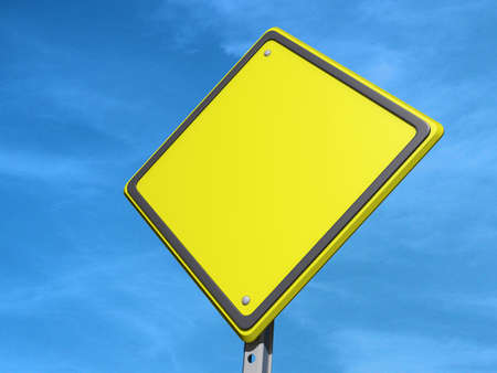 A yield road sign with Copy Space Stock Photo